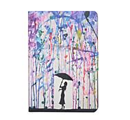 pintar lluvia modelo caja de cuero de la PU con el protector de pantalla y lápiz para Mini iPad 1/2/3