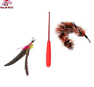 Cat Toy Dog Toy Pet Toys Teaser Feather Toy Stick Brown Plastic