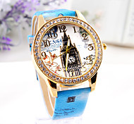freeshipping 3colors white bule  pink  Eiffel Tower  Hot sell Women's punk Diamond Watch