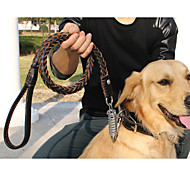 Medium and large leather dog collar pet leashes