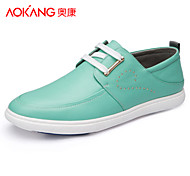 Aokang Men's Shoes Outdoor/Athletic/Casual Leather Fashion Sneakers Green/Beige