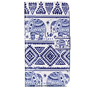 Blue Elephant Pattern PU Leather Phone Case For Nokia N640