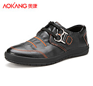 Aokang Men's Shoes Outdoor/Athletic/Casual Leather Fashion Sneakers Black/Blue/Brown/Yellow
