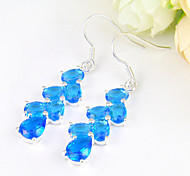 Family Friend Gift Drop Fire Full Sky Blue Topaz Gem 925 Silver Drop Earrings For Wedding Party Daily Holiday 1Pairs