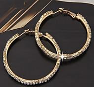 Pair Gold Tone Metal Rhinestone Huggie Hoop Loop Earrings Wedding Bridal 53x5mm