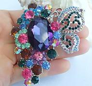 2.95 Inch Silver-tone Multicolor Rhinestone Crystal Butterfly Flower Brooch Pendant Art Decorations
