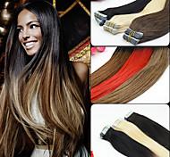 20pieces 2,5 g / pc 50g 12-26inch fita virgem brasileiro em extensão do cabelo humano extensões de fita tom ombre 002