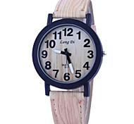 Men's Watch Vintage Wooden Surface Quartz PU Band Wrist Watch Cool Watch Unique Watch