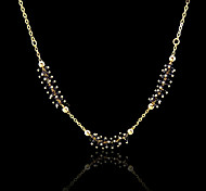 18K Real Gold Plated Black Water Drop Pendant Necklace