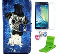 teste padrão do cão caso pu couro com protetor de tela e ficar de pé e plugue poeira para Samsung Galaxy a5