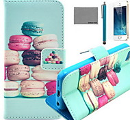 COCO FUN® Colorful Macarons Pattern PU Leather Case with Screen Protector and USB Cable and Stylus for iPhone 5/5S