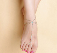 Fashion Women Yoga Dance Simple Multilayer Tassel Chain Crystal Anklets