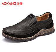 Aokang Men's Shoes Outdoor/Athletic/Casual Suede Fashion Sneakers Black/Khaki