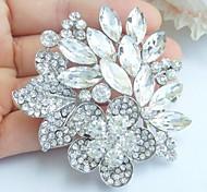 Wedding 2.36 Inch Silver-tone Clear Rhinestone Crystal Flower Bridal Brooch Pendant