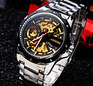 mineral de línea espejo de cristal banda de acero inoxidable vida de la moda ronda reloj mecánico impermeable de los hombres
