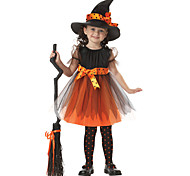 New !Halloween Christmas Child Witch Costume Cosplay Cloak Suit Cute Witch Cloak for Little Girl Hat+Dress+Belt