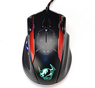 Left Scroll USB Optical Computer Wired Gaming Mouse 10 Button 3200 DPI for Notebook Laptop Skull  Black
