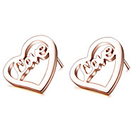 Stainless Steel Stud Earrings with LOVE Letter