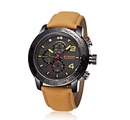 Men's Luminous Disc Leather Strap Quartz Watch
