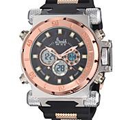 super luxo caso liga pesada pulseira de borracha relógio militar dos homens analógico-digital / calendário / cronógrafo / alarme