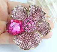 2.36 Inch Gold-tone Pink Rhinestone Crystal Flower Brooch Pendant Art Decorations
