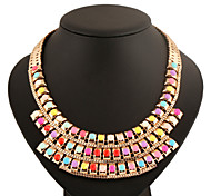 Fashion Colorful Beads Metal Gold Necklace