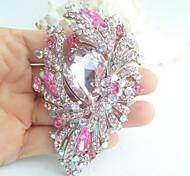 3.74 Inch Silver-tone Pink Rhinestone Crystal Flower Brooch Pendant Art Deco