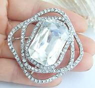 1.97 Inch Silver-tone Clear Rhinestone Crystal Bridal Brooch Pendant Wedding Decorations