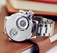 Men's Fashion Military Watch Dual Time Zones Stainless Steel Band