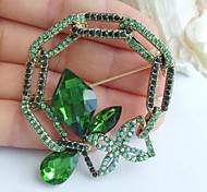2.17 Inch Gold-tone Green Rhinestone Crystal Spiderweb Flower Brooch Pendant Art Decorations