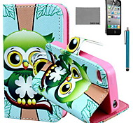 COCO FUN® Green Owl Pattern PU Leather Case with Screen Protector and USB Cable and Stylus for iPhone 4/4S