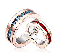 Stainless Steel Couple Rings with Zircon