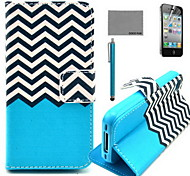 COCO FUN® Black White Wave Pattern PU Leather Case with Screen Protector and USB Cable and Stylus for iPhone 4/4S