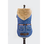 Dog Hoodie / Denim Jacket/Jeans Jacket Blue Dog Clothes Winter Jeans