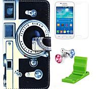 Kamera-Muster PU-Lederetui mit Displayschutzfolie und stehen und Staubstecker für Samsung-Galaxie grand prime G530