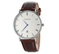 Men's Casual Design Simple Dial Leather Band Quartz Wrist Watch