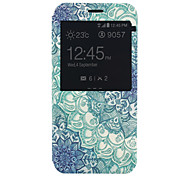 Green Flowers Pattern PU Material Full Package Phone Case for Samsung Galaxy A8