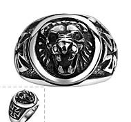 Майя классического индивидуальный тонкий щедрым король лев из нержавеющей стали человек кольцо (черный) (1шт)