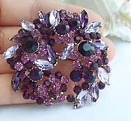 2.17 Inch Gold-tone Purple Rhinestone Crystal Flower Brooch Pendant Art Decorations