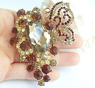 2.95 Inch Gold-tone Topaz Rhinestone Crystal Butterfly Flower Brooch Pendant Art Decorations