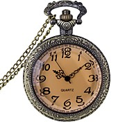 Fashion Carving Tawny Glass Vintage Alloy Quartz Analog Pocket Watch With Chains   (1 x LR626)