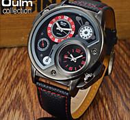 OULM® Men's Dual Time Military Watch Fashion Black Case Leather Strap
