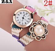 relógio de forma simplicidade de quartzo cristal de rocha pérola tecer pulso das mulheres (cores sortidas)