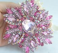 Gorgeous 3.94 Inch Silver-tone Pink Rhinestone Crystal Flower Brooch Art Deco
