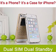 Ultra Thinner Dual SIM Dual Standby MP3/MP4 Cell Phone Case for iPhone 5/5S