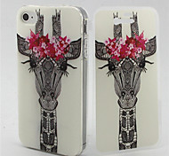 Flower Giraffe Pattern TPU Soft Full Body Cover Case for iPhone 4/4S