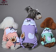 Dog Clothes/Jumpsuit Pajamas Green Purple Pink Dog Clothes Winter Spring/Fall Cartoon Bowknot Casual/Daily