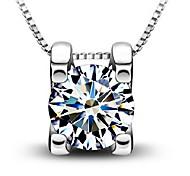 Woman Crystal Clavicle Zircon Silver Pendant Necklaces