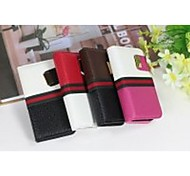 Popular Double Colors Combo (Split) PU Leather Full Body Cases Cover with Card Slot and Stand for iPhone 4