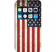 American Flag Pattern PU Material Flip Open the Window Leather for iPhone 6S Plus